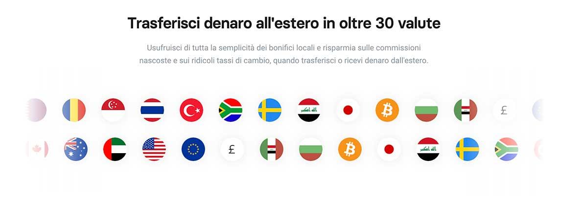 Trasferisci denaro in 30 valute con Revolut